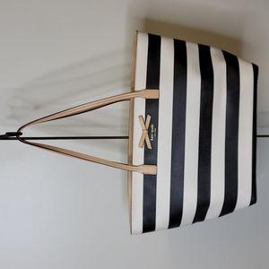 Kate Spade Black & White Striped Tote